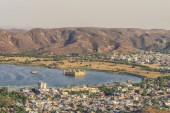 Fotografia Jaipur cityscape with the view of the Jal Mahal monument, Rajasthan, India.