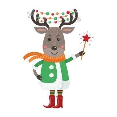 Isolated cute deer is dressed in winter clothes. Vector illustration for your design