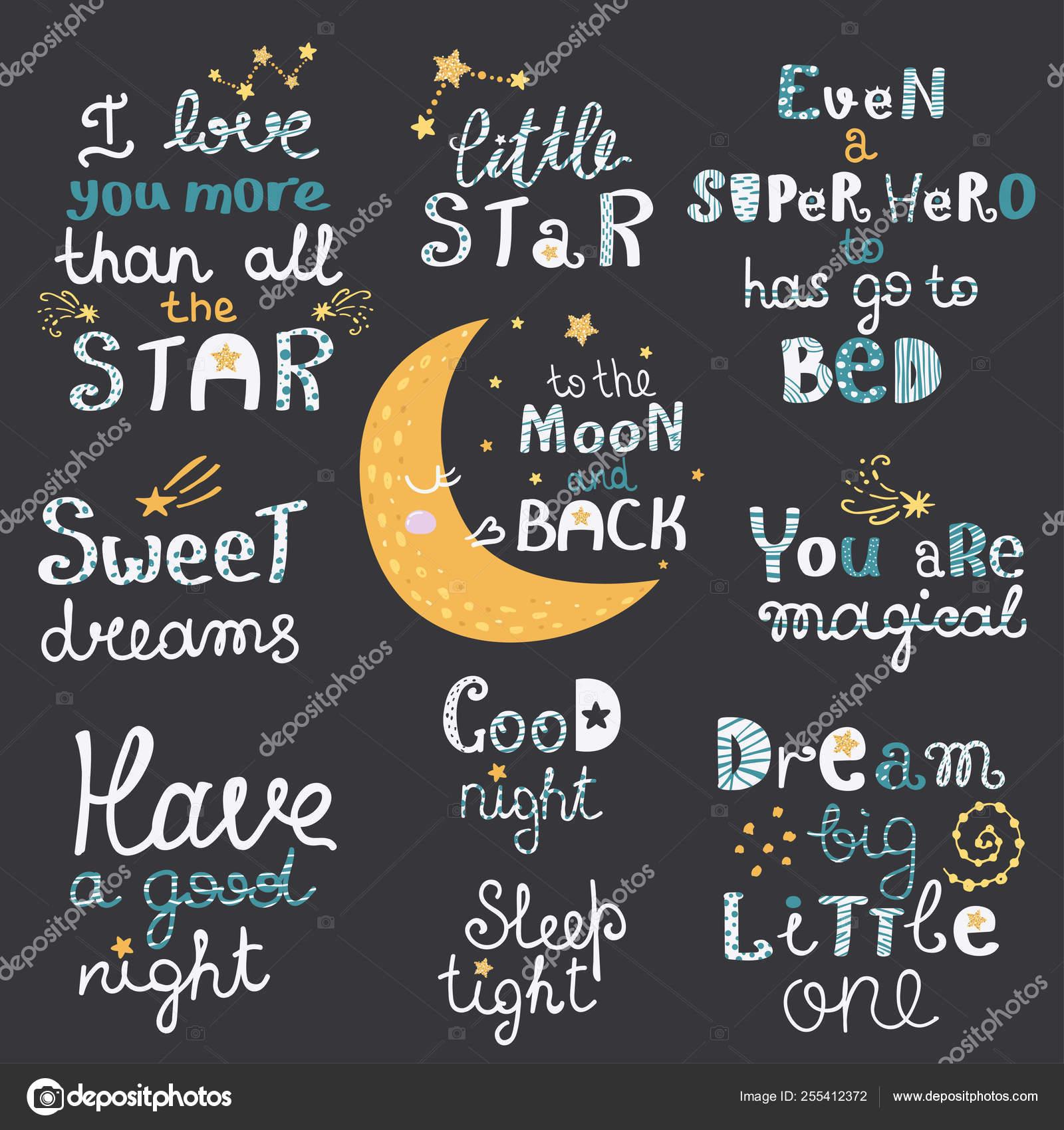 Conjunto Vectorial De Letras Nocturnas Con Frases Lindas