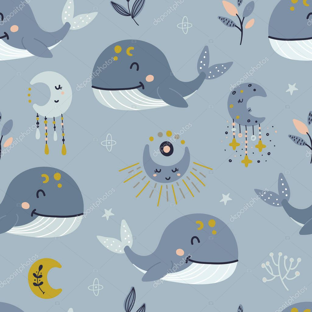 Seamless Pattern With Celestial Whale And Moon Pattern For Bedroom Wallpaper Kids And Baby T Shirts And Wear Hand Drawn Nursery Illustration 413809064 Larastock