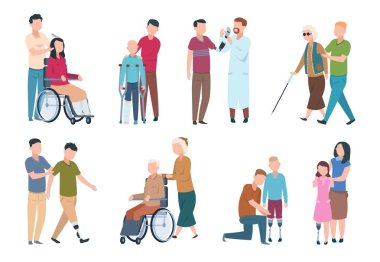 People with disabilities and friends. Disable persons in wheelchair with assistants. Happy disabled, handicapped characters