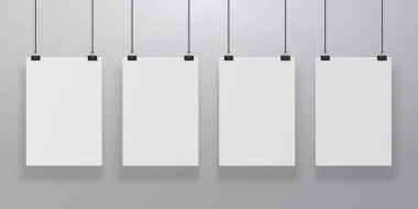 Realistic poster mockup. Blank paper hanging on binders at the wall, empty A4 paper poster clipped on ropes. Advertising frames