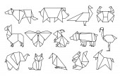 Photo Line origami animals. Abstract polygon animals, folded paper shapes, modern japan design templates. Vector animal icons
