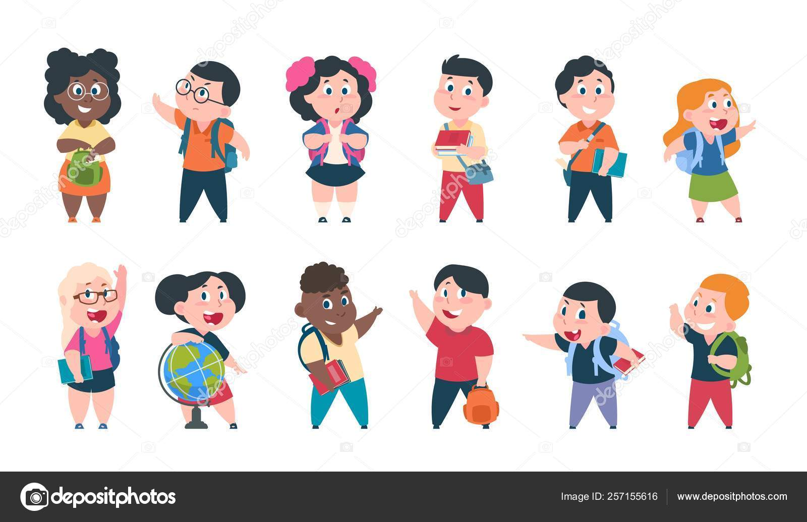 School Kids Cartoon Children With Books And School Supplies Happy Cute Boys And Girls Pupils Characters Vector Study Education Set Stock Vector C Spicytruffel 257155616