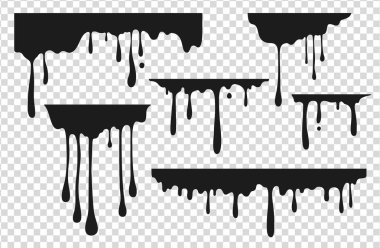Black dripping stain. Liquid paint drop, oil ink splatter melted chocolate caramel splash black graffiti stain. Vector dripping paint