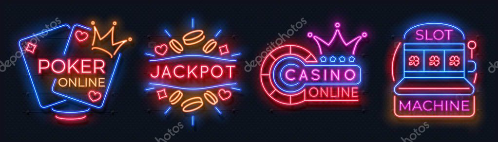 Neon Casino Banners Slot Machine Playing Cards Lucky Roulette Gambling Signs Online Poker Game Bet Vector Modern Neon Casino Logo Set Premium Vector In Adobe Illustrator Ai Ai Format