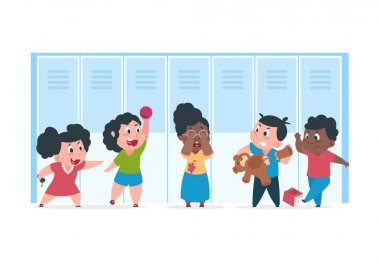 Kid bullying. Scared child suffer from bad angry kids, concept of bullying mocking at school. Vector cartoon characters confrontation