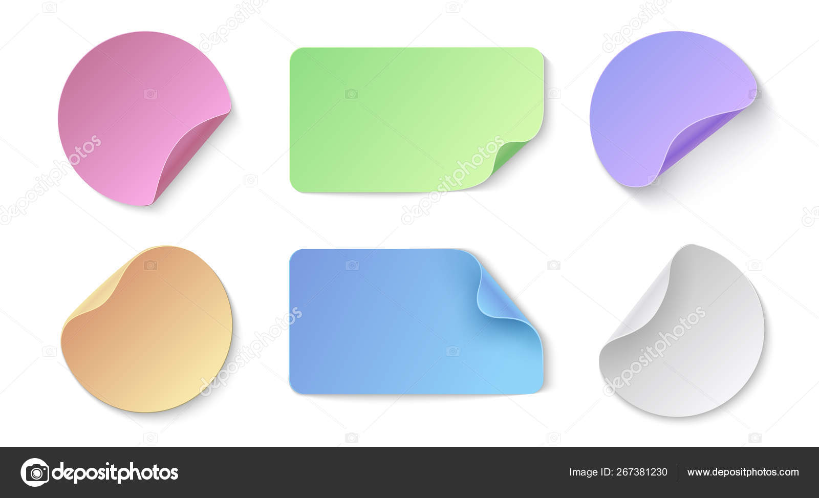 Realistic paper stickers  Round and rectangular colored