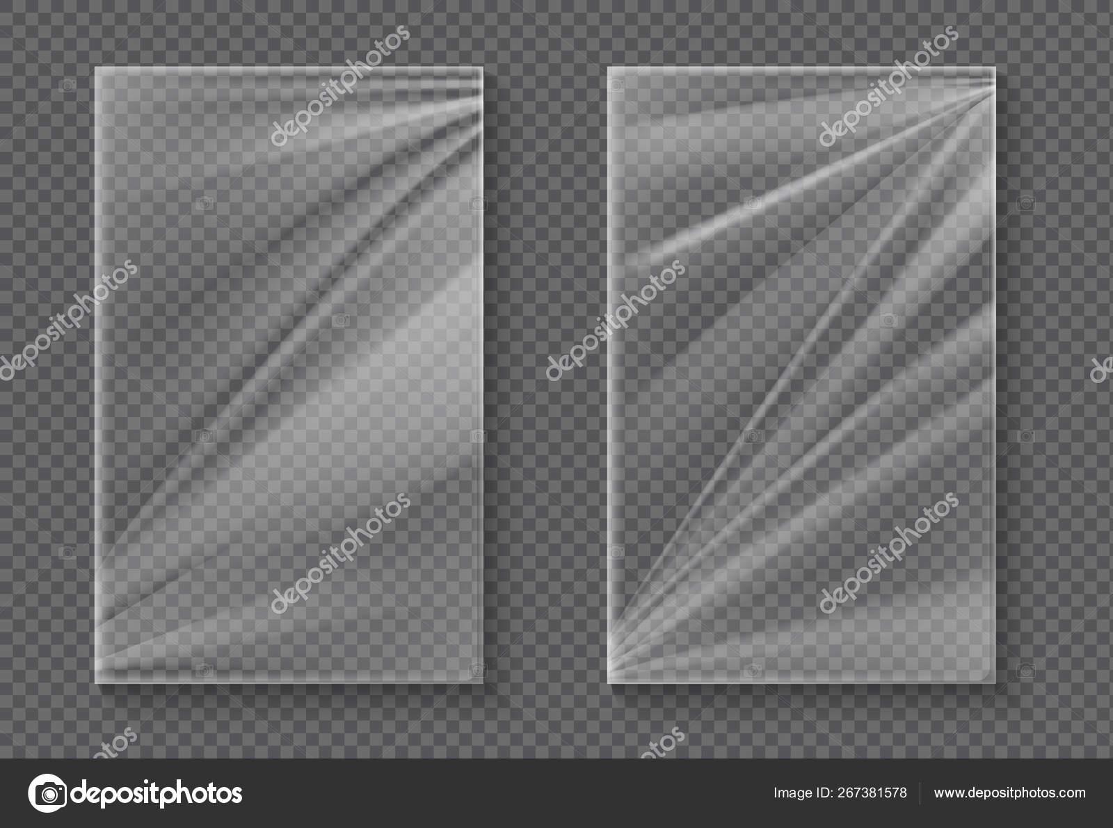 Plastic Foil Transparent Cellophane Wrap Mockup Realistic