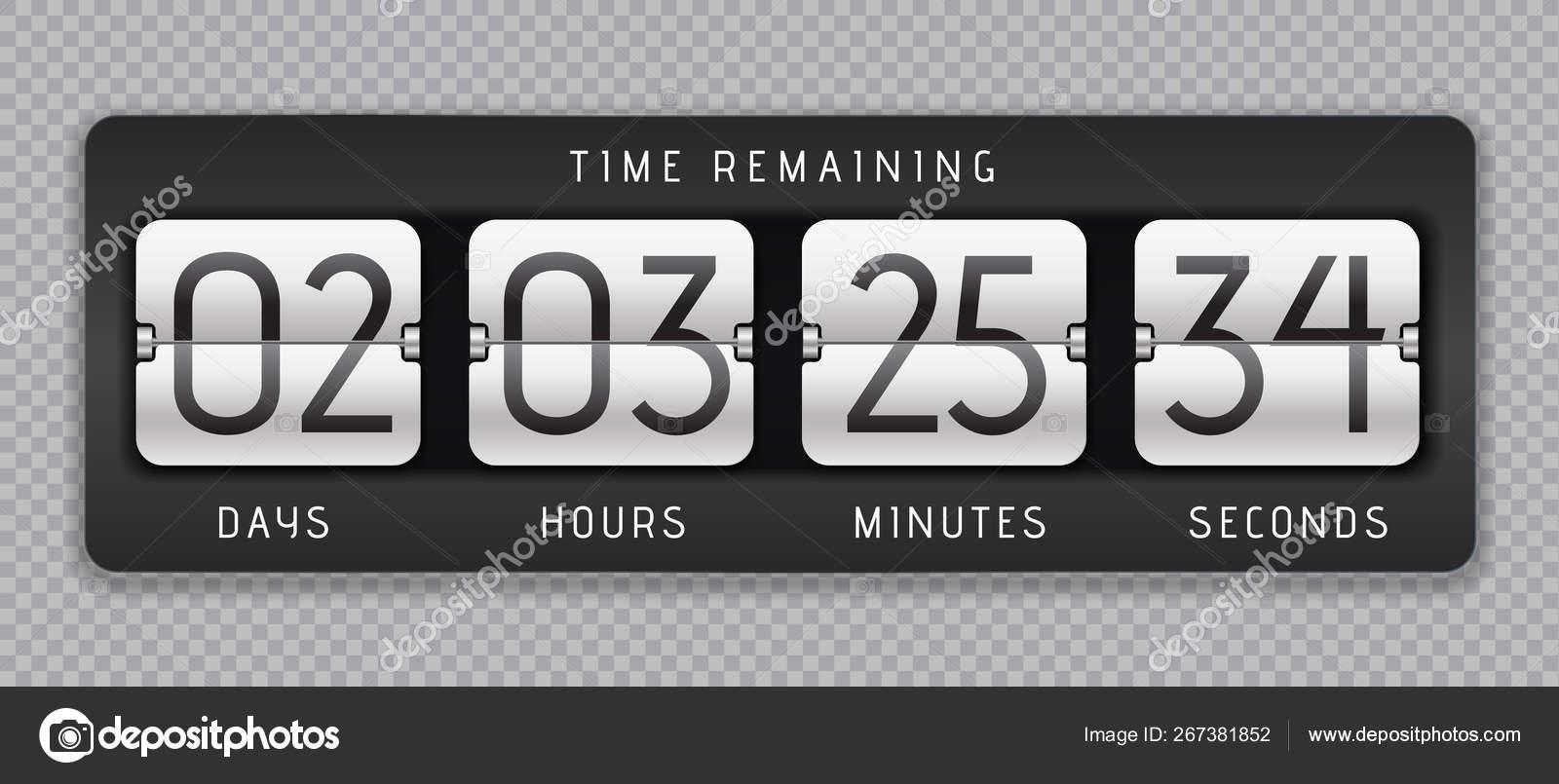 Countdown flip clock  Digital counter, analog time or scoreboard
