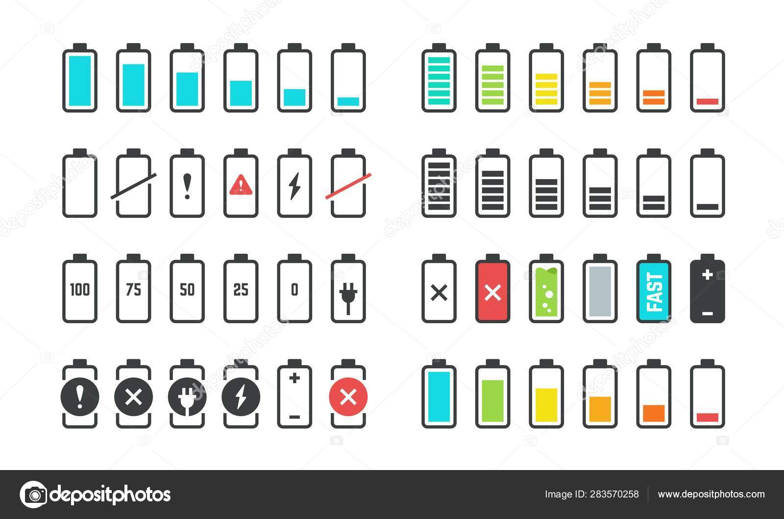 Battery icons  Phone charge level, UI design elements of