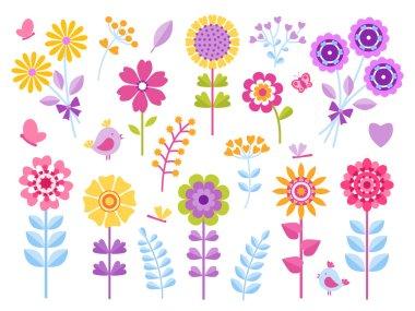 "Картина, постер, плакат, фотообои ""cartoon flower stickers. cute butterflies bugs and birds kid clip art, summer garden pretty retro set. vector floral child scrapbook"", артикул 283570164"
