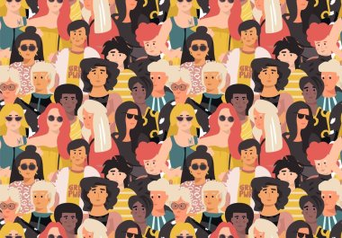 Women pattern. Cute international girl faces, seamless sketch background with women portraits. Vector feminist movement poster