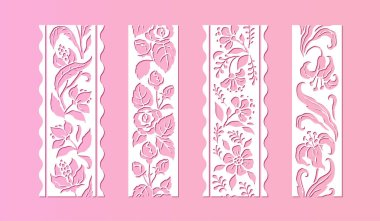 Flower lace. Decorative vintage traditional design templates with ornamental and floral vector elements for wedding invitation cards