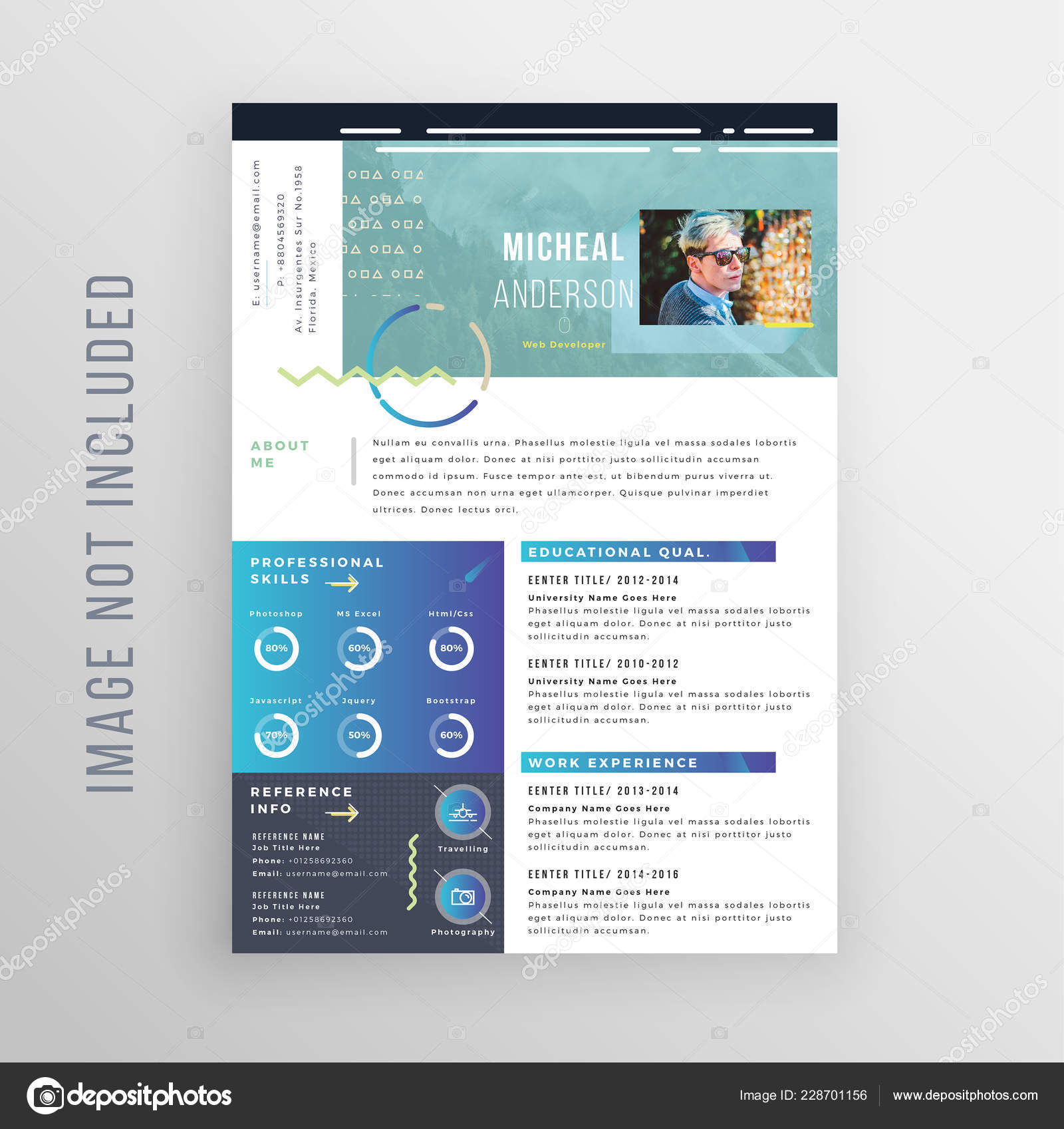 Resume Template Features 300 Dpi Print Ready 125 Inches Bleed