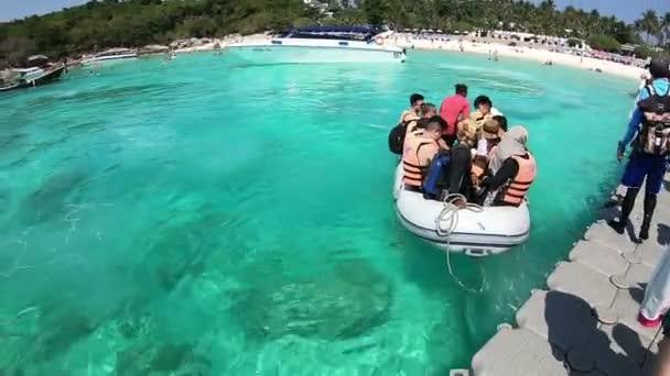 Phuket, Thailand - March 27, 2018 : Tourists on rubber boat at Patok Bay, Koh Racha Yai Island