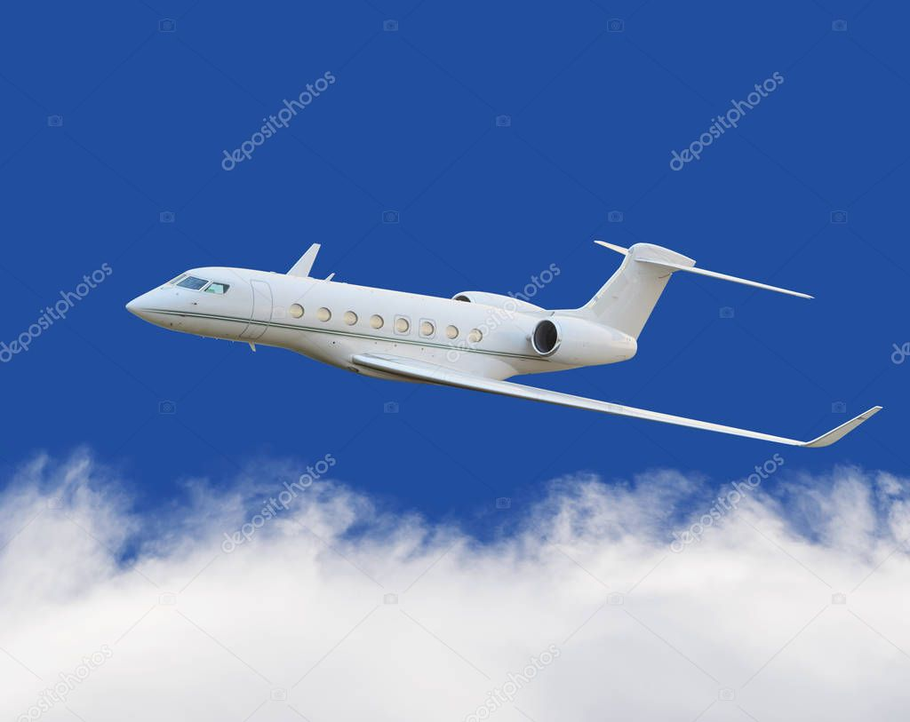 Private jet plane in the cloud with blue sky