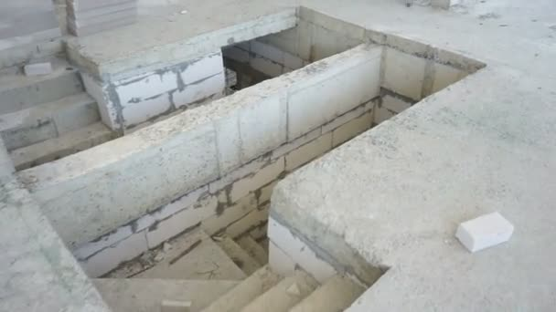 Unfinished stair at construction site