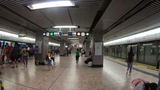 Hong Kong, China - August 15, 2018 : Subway train station interior timelapse in Hong Kong