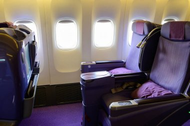 Business class luxury airplane interior