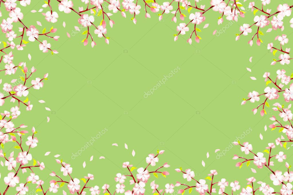frame - a rectangle light green, cherry branches with inflorescences, bods and green leaves
