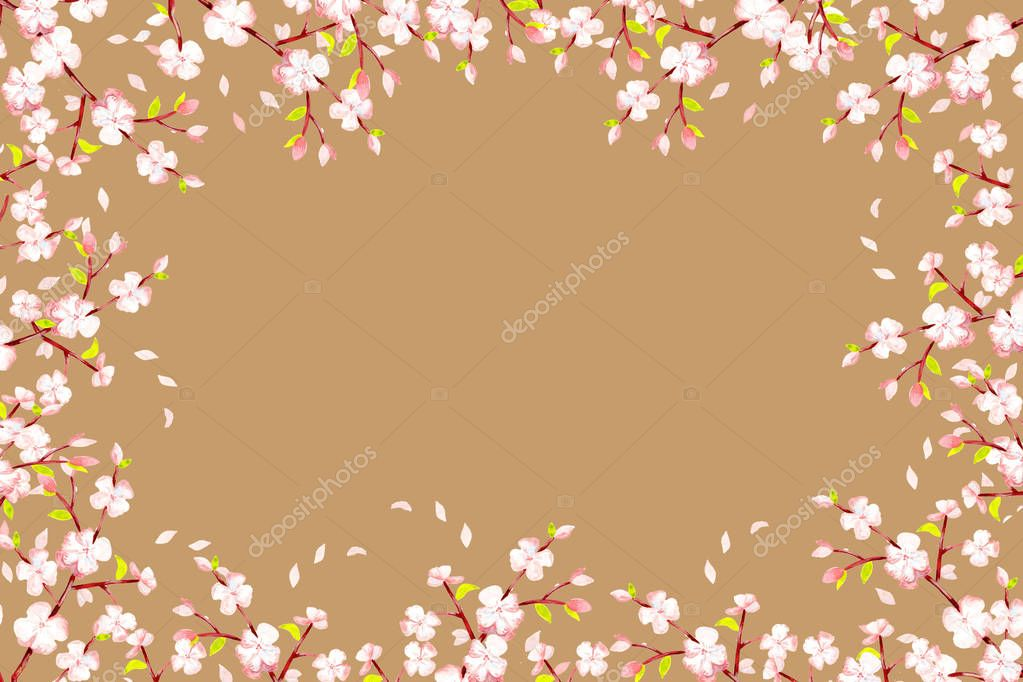 frame - a rectangle light brown, cherry branches with inflorescences, bods and green leaves