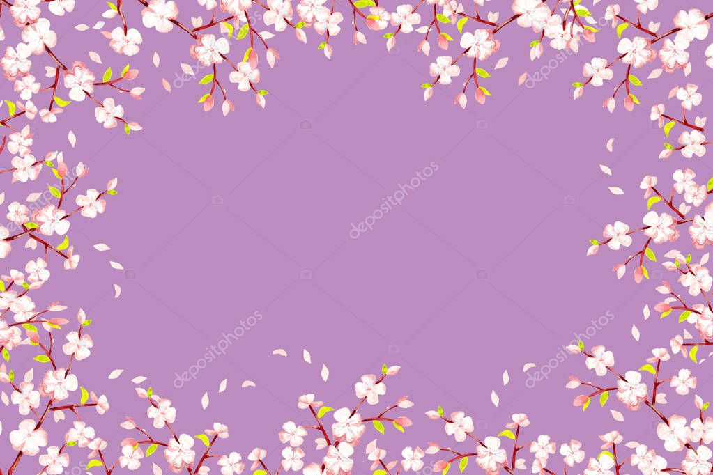 frame - a rectangle lilac, cherry branches with inflorescences, bods and green leaves