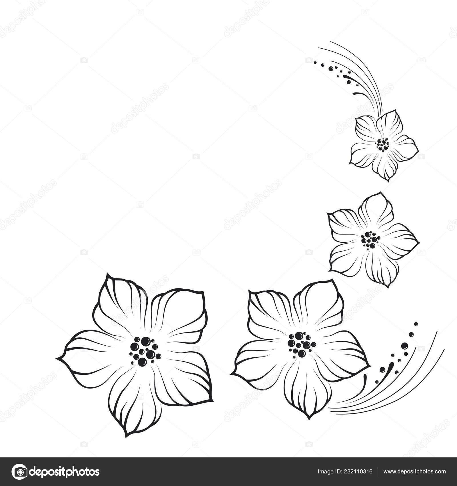 Simple Graphic Drawing Black Flowers Stock Vector C Halynamoroshan 232110316