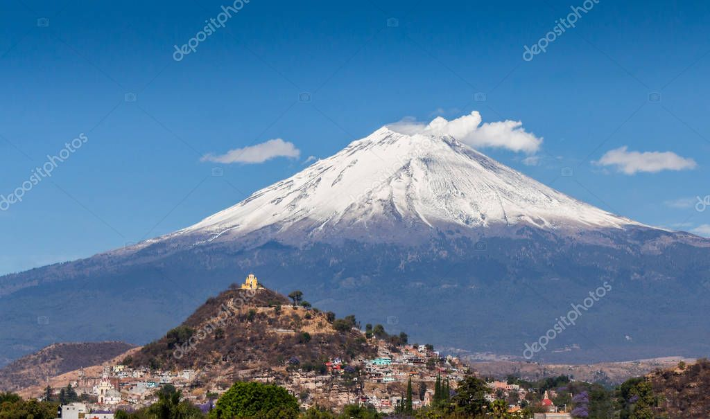 beautiful background of Puebla with the convent of Atlixco and volcano background