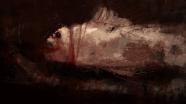 Painting of abstract fish monster in brush stroke style, digital illustration