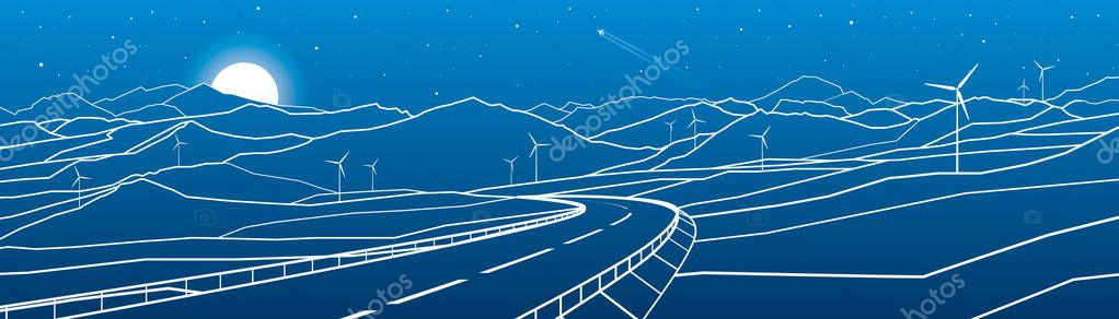 Highway in the mountains. Sunset behind the rocks. Night scene. White lines on blue background. Windmills power. Vector design art