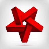 Pětiúhelníkové iluzi červený obrácený hvězda. Pět špičaté neskutečné tvar, neexistující geometrie objektu, abstraktní vektorová design