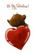 Bild eines Cartoon-Bären mit einem roten Herzen. Die Abbildung ist von Hand bemalt in Aquarell auf weißem Hintergrund.
