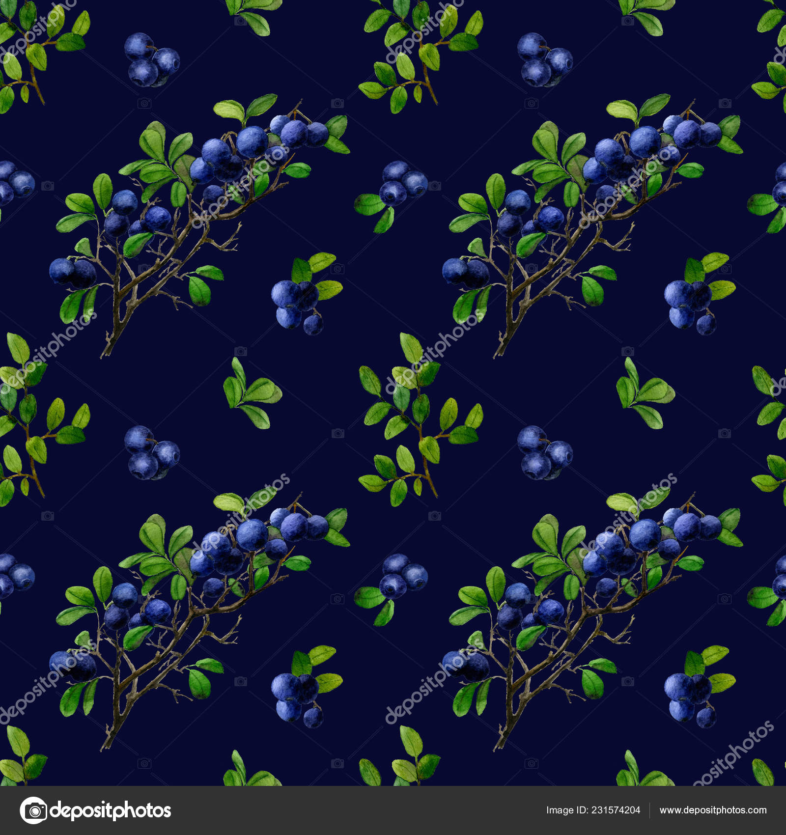 Seamless watercolor pattern with blueberry branchlets, blueberry and leaves isolated on a dark blue background