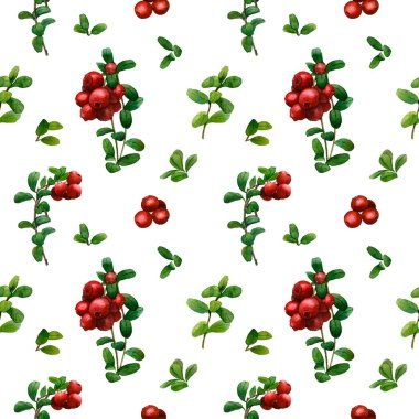 Beautiful floral and cowberry seamless pattern hand painted in watercolor isolated on a white background