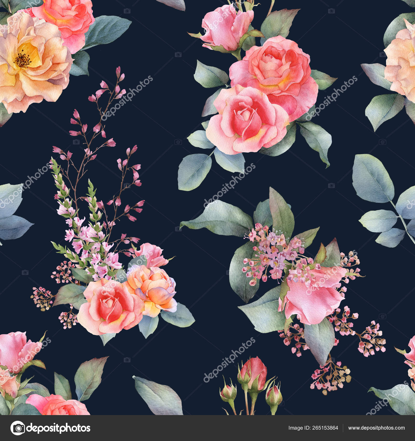 Picturesque Seamless Pattern Yellow Roses Green Gold Leaves