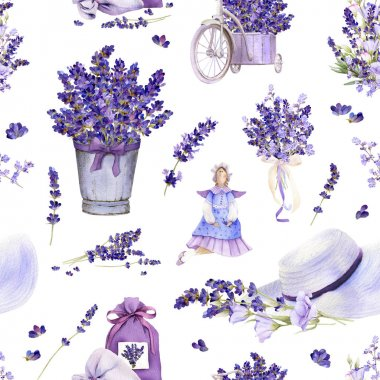 Seamless pattern in a Provence style with lavender flowers, arrangements, bouquets, tilda doll, summer hat, pot hand drawn in watercolor isolated on a white background. stock vector