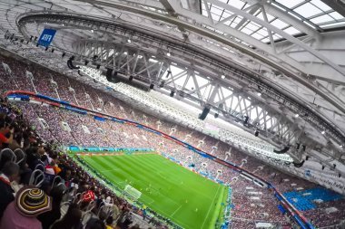 Sochi, Russia - June 15, 2018: Sochi, the stadium fisht. The fans filled the stadium. Match Portugal vs Spain