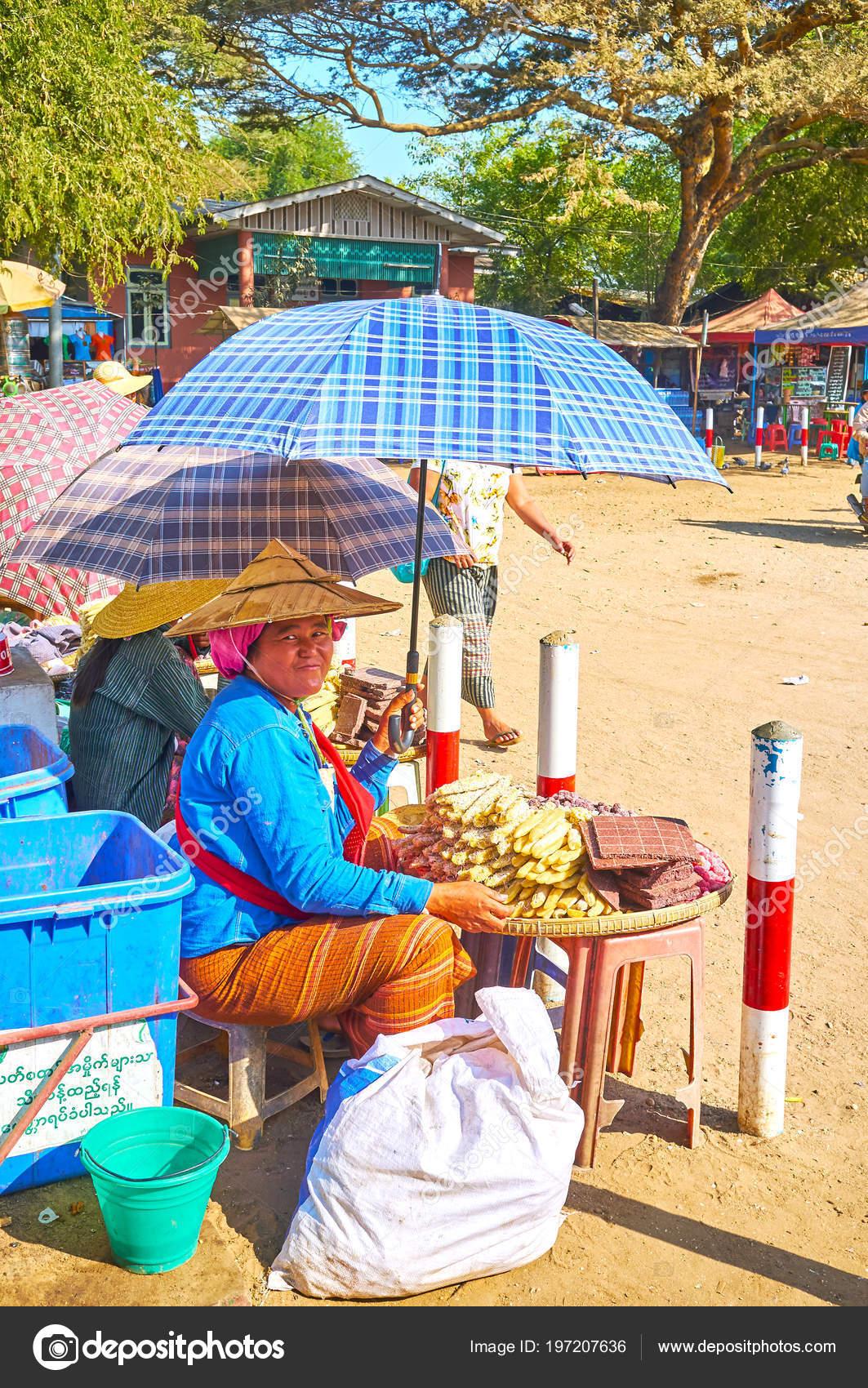 Bagan Myanmar February 2018 Smilimg Merchant Sells Sweets