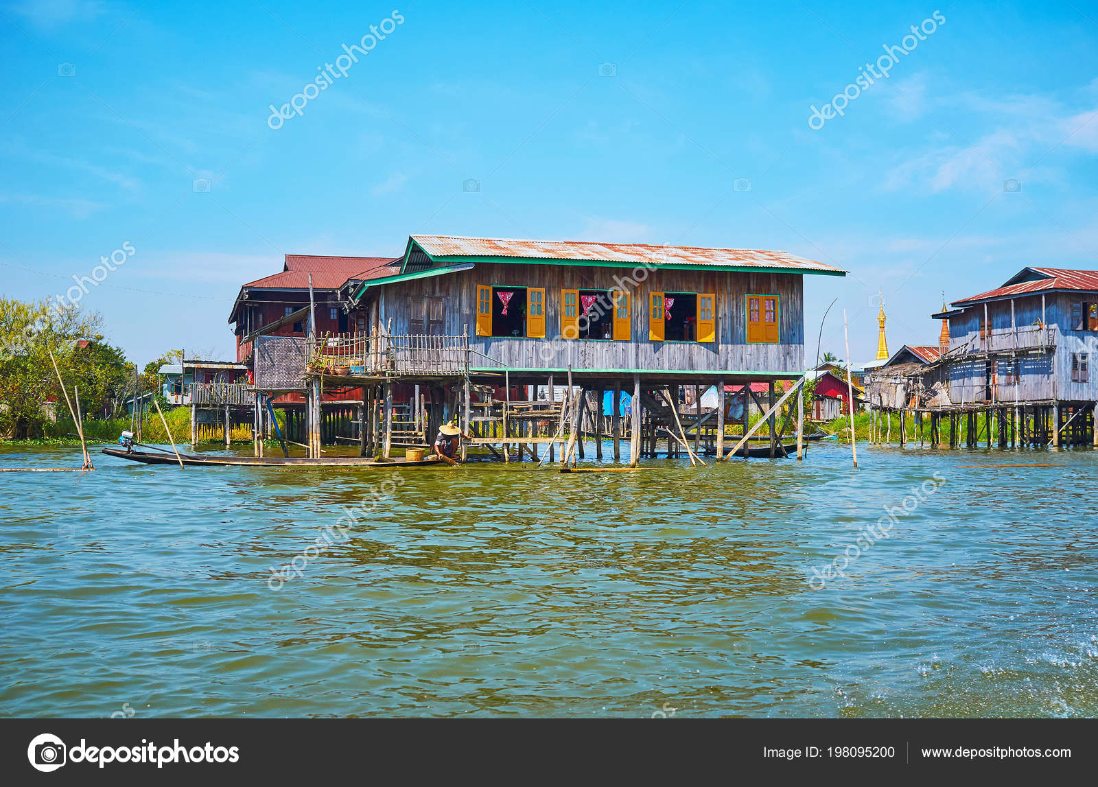 Countryside Scene Inle Lake Villager Floats Kayak Front Old Wooden Stock Photo