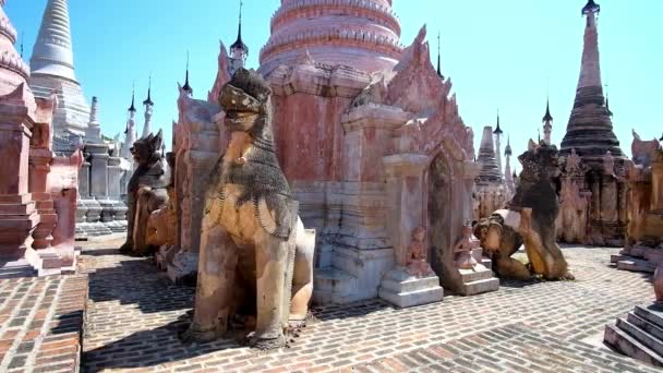 Among the ancient shrines of Kakku Pagodas complex, famous for its ornate stupas, decorated with large statues, small sculptures and carved details, Taunggyi region, Myanmar.