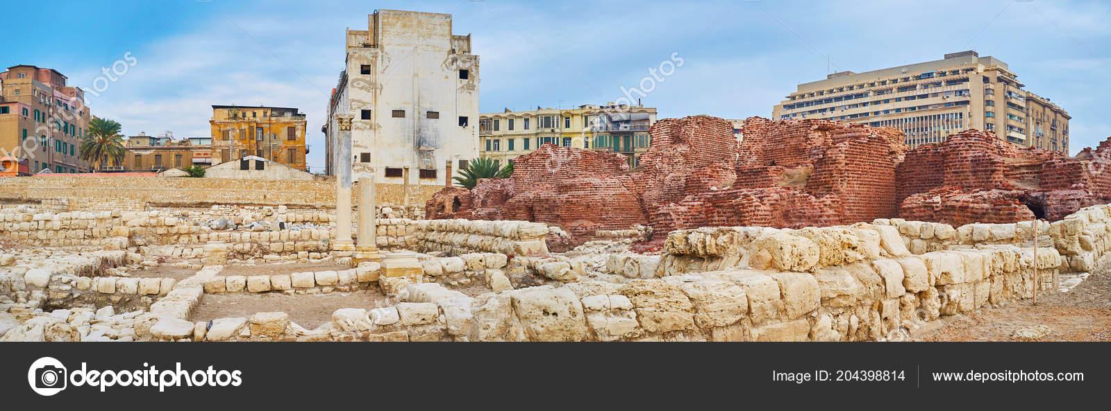 Banos De Epoca.Panorama Zona Arqueologica Epoca Romana Llamado Kom Dikka