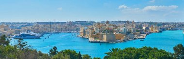 The hills of Floriana are perfect viewpoints to observe the fortified settlements of Valletta Grand Harbour - Birgu and Senglea medieval cities, Malta.