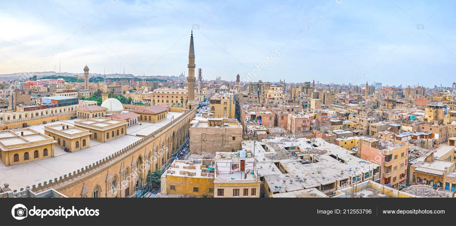 panorama islamic cairo ramshackle houses tall minarets huge hussein