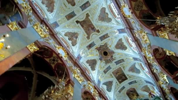 CZESTOCHOWA, POLAND - JUNE 12, 2018: The ornate vault in Basilica of Holy Cross and Nativity of Mary in Jasna Gora Monastery with stucco decors, frescoes and rich patterns, on June 12 in Czestochowa.