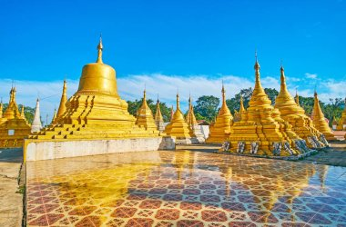 Among the stupas of Nget Pyaw Taw Pagoda, Pindaya, Myanmar
