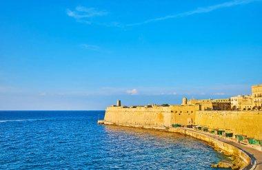 The walls of Valletta in sun rays, Malta