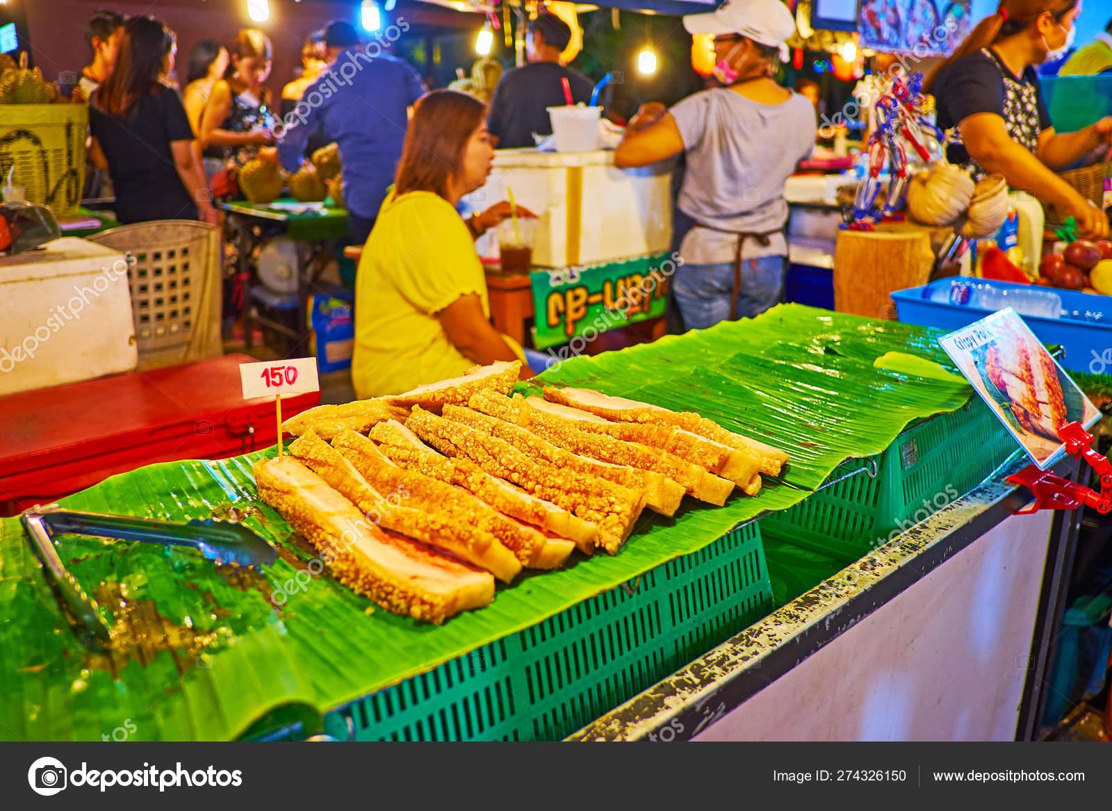Roasted Pork Belly In Ao Nang Night Market Krabi Thailand