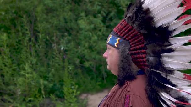Régi bennszülött amerikai indiánok áll a háttérben az erdő komoly arcát