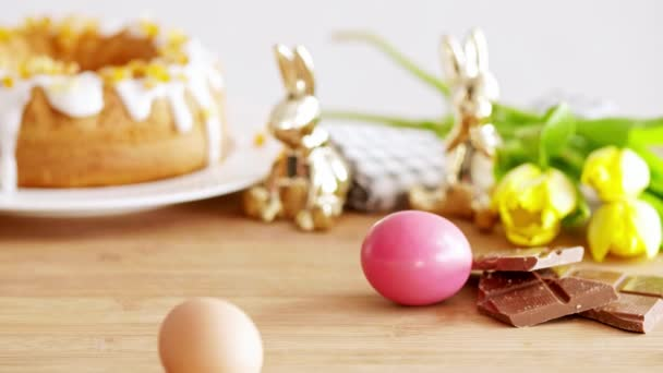 Easter background with easter eggs and copy space